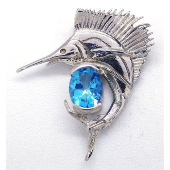 Blue Topaz and Sterling Silver Sailfish Pendant