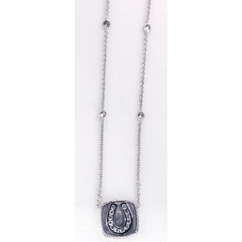 14kt White Gold Horse Shoe Necklace with Diamonds