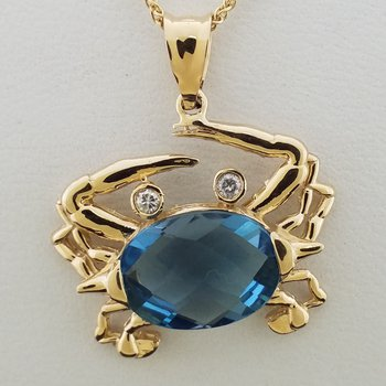14K Crab Pendant with .07 ct Diamonds and Blue Topaz