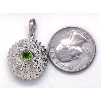 Peridot and Sterling Silver Sea Urchin Pendant