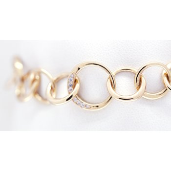 Diamond and Yellow Gold, Fancy Link Bracelet