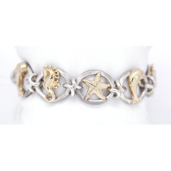 Sterling Silver and Yellow Gold Nautical Bracelet