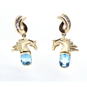 Blue Topaz, Diamond and Yellow Gold Horse Head Earrings