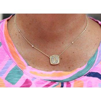 14kt Yellow Gold Horseshoe Necklace with Diamonds