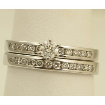 14 Karat White Gold And Diamond Engagement Ring And Wedding Ban