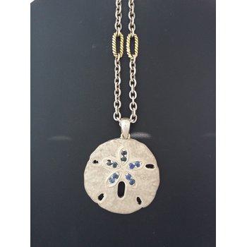 Sapphire Sand Dollar Pendant Necklace