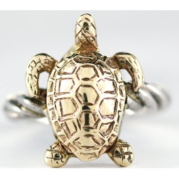 Sterling Silver and 14kt Gold Sea Turtle Ring