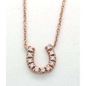 diamond and rose gold horseshoe necklace