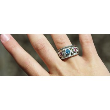 Sterling Silver Ring with Blue and Pink Topaz