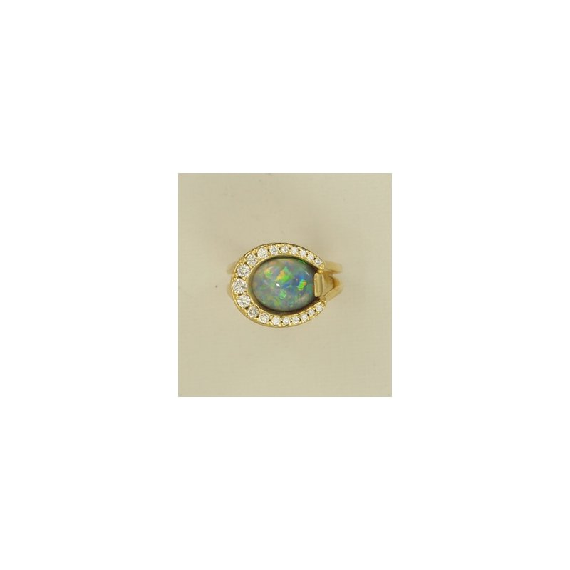 Equestrian Jewelry Opal And Diamond Horseshoe Ring