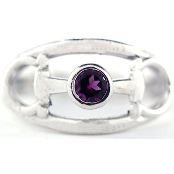 Sterling Silver Horse Bit Ring with Garnet