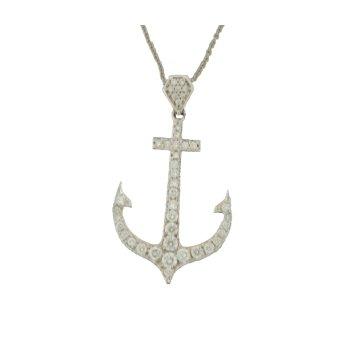 14Kt Diamond Pendant Anchor