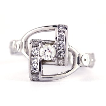 Diamond and White Gold Horse Stirrup Ring