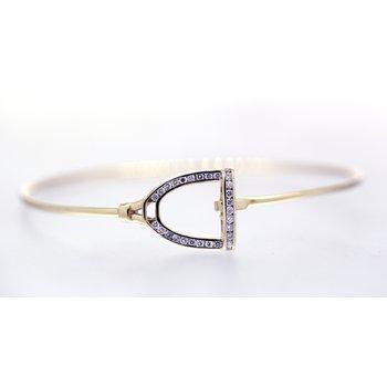 Diamond and Yellow Gold Horse Stirrup Bracelet