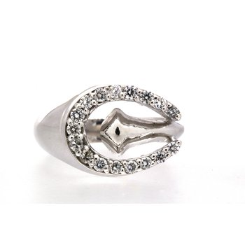 White gold and diamond horseshoe with nail, ring