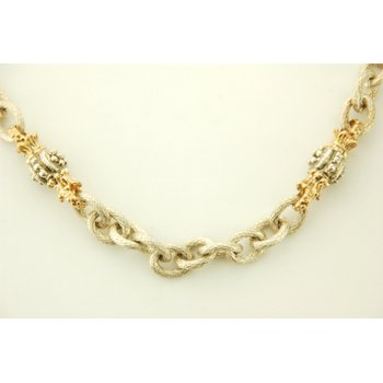 18' Sterling Silver Necklace With 2 Gold Accents