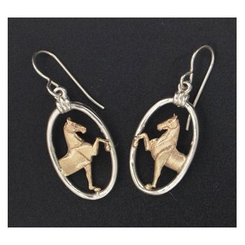 3 Gaited Horse Bust In Oval Frame Earrings