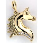 Equestrian Jewelry 14kt Yellow Gold Arabian Horse Head Pendant with Diamonds