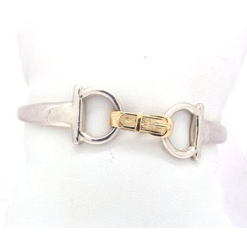 sterling silver and yellow gold horse bit bracelet