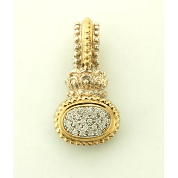 14K Gold And Sterling Silver Pendant With Diamonds