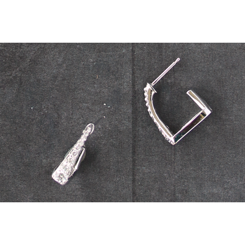 Diamond and White Gold Horse Stirrup Hoop Earrings