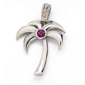 Sterling Silver and Rhodolite Palm Tree Pendant