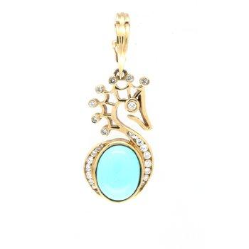Turquoise and diamond, yellow gold seahorse pendant
