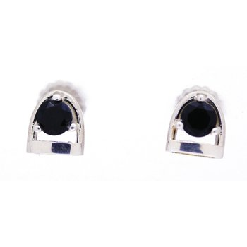 Sterling Silver and Onyx Horse Stirrup Earrings