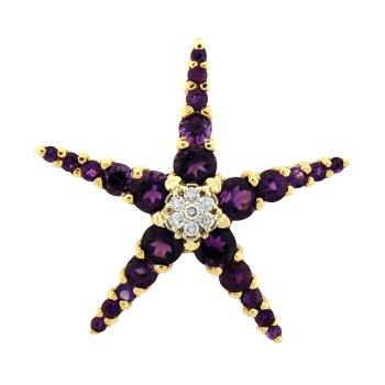Diamond And Amethyst Starfish Pendant