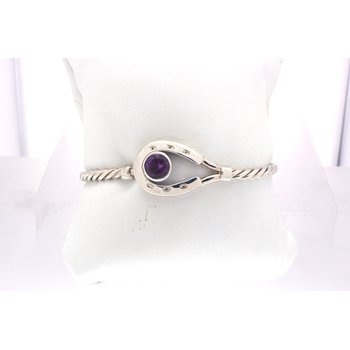 Sterling silver and Amethyst horseshoe, tension bangle