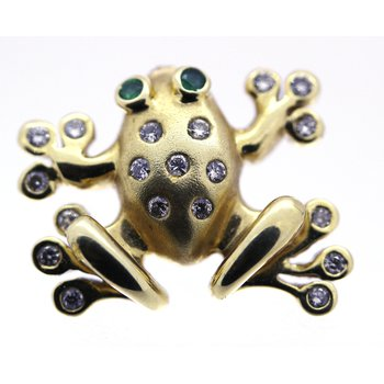 Diamond and Yellow Gold Frog Pin