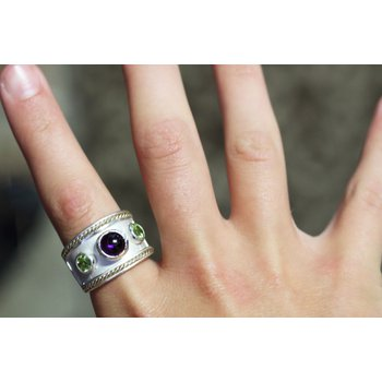 Sterling Silver and 14kt Yellow Gold Ring with Amethyst and Peridot