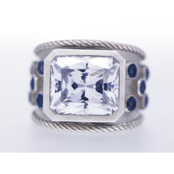 CZ, London Blue Topaz and Sterling Silver Ring