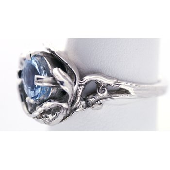 Sterling Silver Mermaid Ring with Blue Topaz