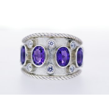 Sterling Silver, Amethyst and CZ, Wide Band Ring