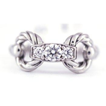 Diamond and White Gold Horse Bit Ring