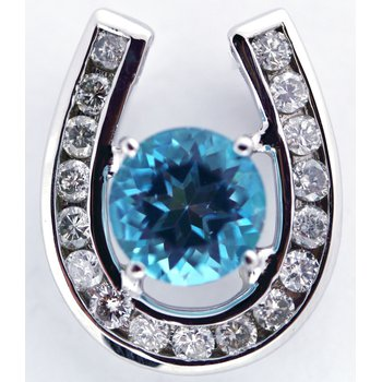 14kt White Gold Horse Shoe Pendant with Diamonds and Blue Topaz