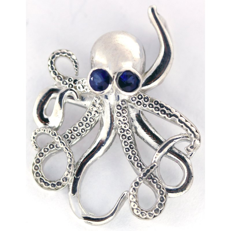 Nautical Jewelry Sterling Silver Octopus Pendant with Sapphire Eyes