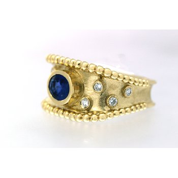 Sapphire and diamond, yellow gold wide band ring
