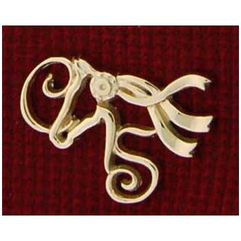 14Kt Yellow Gold Cater Stables Combo Logo Lapel Pin (Large)