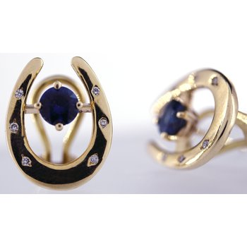14kt Yellow Gold Horseshoe Earrings with Diamonds & Sapphires