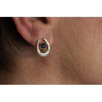 14kt Yellow Gold Horseshoe Earrings with Diamonds & Sapphires