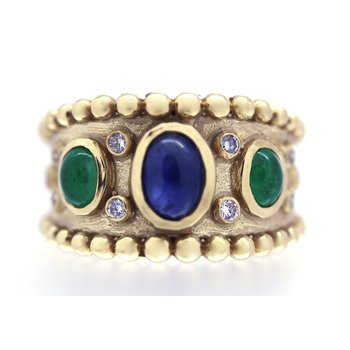 Sapphire, Emerald, and Diamond, Yellow Gold Wide Band Ring