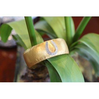 two tone gold and diamond horseshoe cuff bracelet