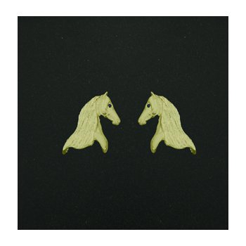 14 Kt Andalusian Horse Head Earrings With Sapphire Eye