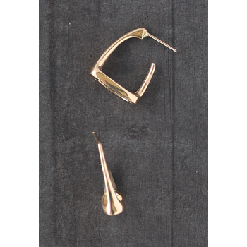 Yellow Gold Horse Stirrup Hoop Earrings