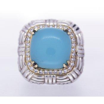 Aquamarine and Diamond, Two Tone Ring