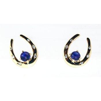 Sapphire and Diamond, Yellow Gold Horseshoe Earrings