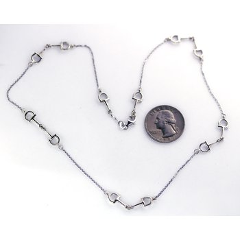 White Gold Horse Bit Necklace