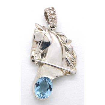 Sterling Silver and Blue Topaz Horse Head Pendant
